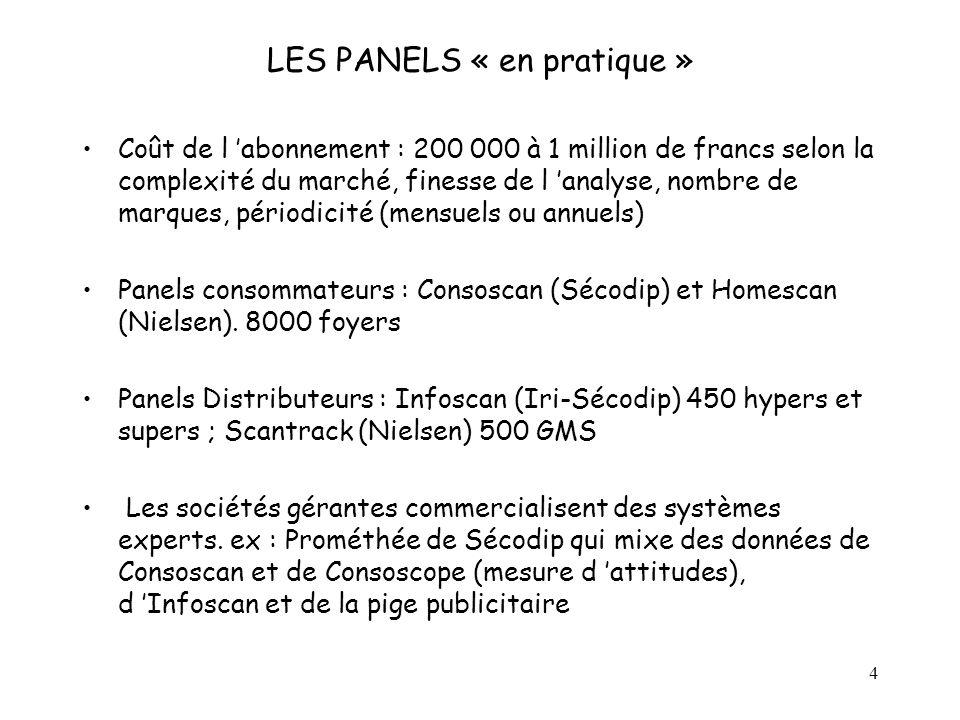 4 LES PANELS « en pratique » Coût de l abonnement : 200 000 à 1 million de francs selon la complexité du marché, finesse de l analyse, nombre de marqu