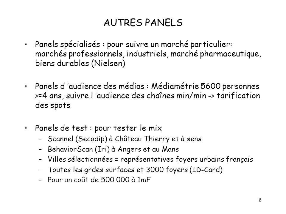 8 AUTRES PANELS Panels spécialisés : pour suivre un marché particulier: marchés professionnels, industriels, marché pharmaceutique, biens durables (Ni