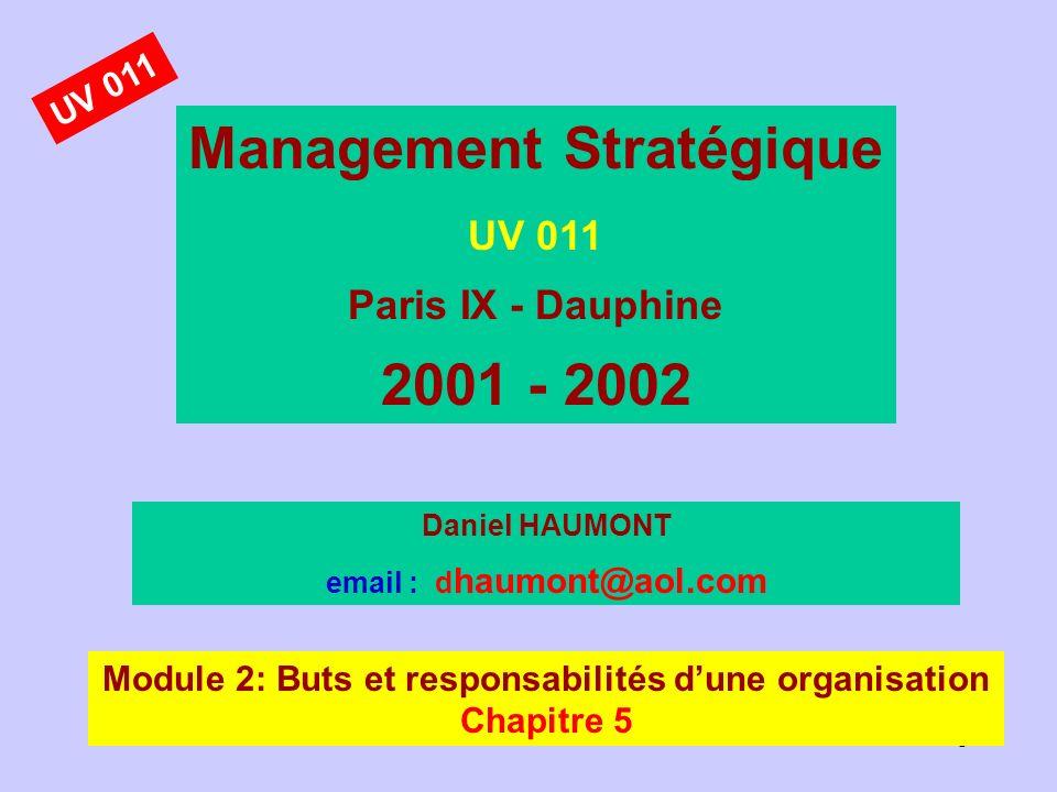1 Management Stratégique UV 011 Paris IX - Dauphine 2001 - 2002 Daniel HAUMONT email : d haumont@aol.com Module 2: Buts et responsabilités dune organi
