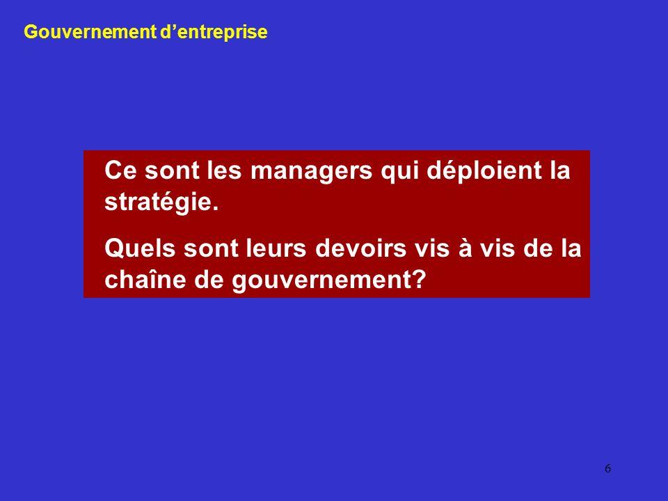 6 Ce sont les managers qui déploient la stratégie. Quels sont leurs devoirs vis à vis de la chaîne de gouvernement? Gouvernement dentreprise