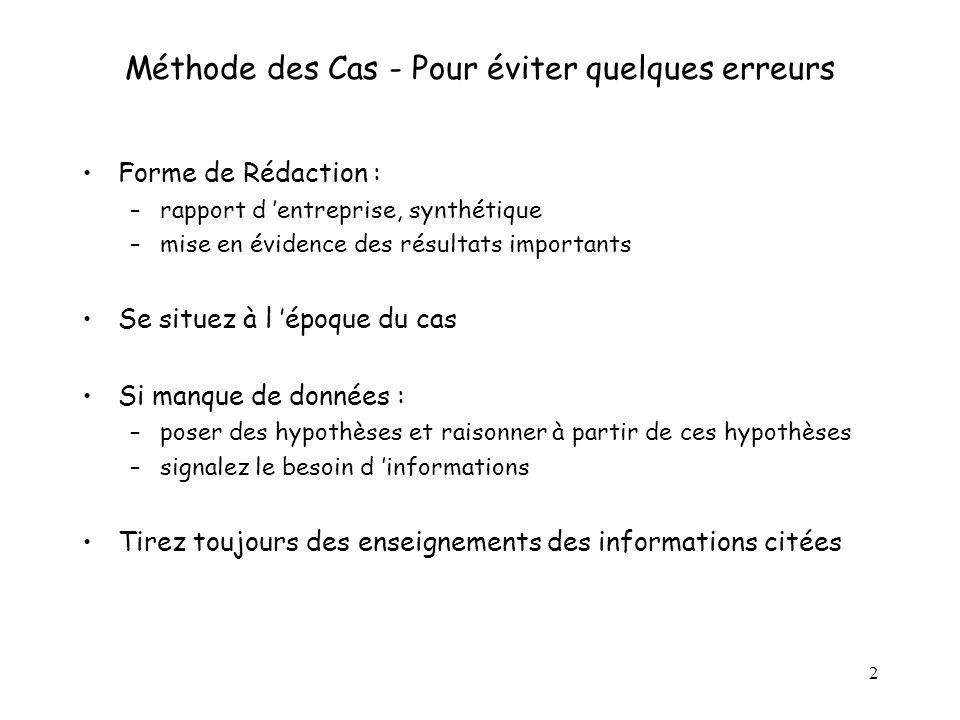 2 Méthode des Cas - Pour éviter quelques erreurs Forme de Rédaction : –rapport d entreprise, synthétique –mise en évidence des résultats importants Se