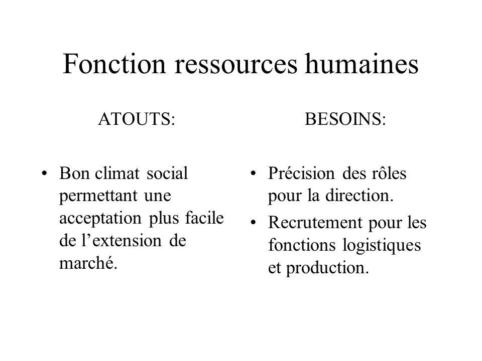 Fonction ressources humaines ATOUTS: Bon climat social permettant une acceptation plus facile de lextension de marché. BESOINS: Précision des rôles po