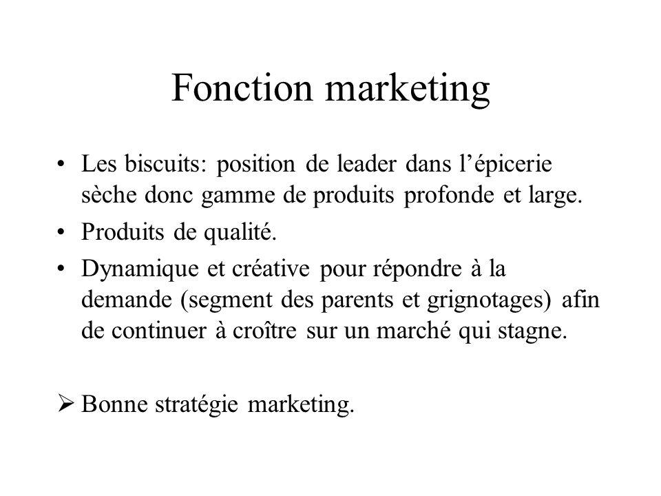 Fonction marketing Les biscuits: position de leader dans lépicerie sèche donc gamme de produits profonde et large. Produits de qualité. Dynamique et c