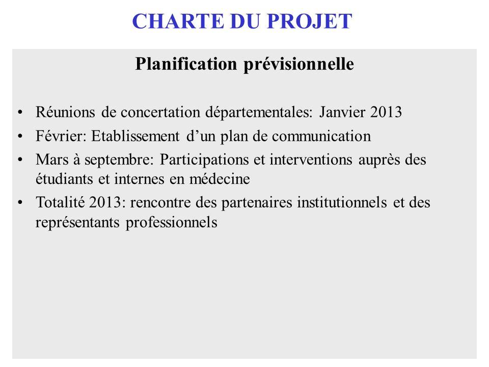 CHARTE DU PROJET Planification prévisionnelle Réunions de concertation départementales: Janvier 2013 Février: Etablissement dun plan de communication