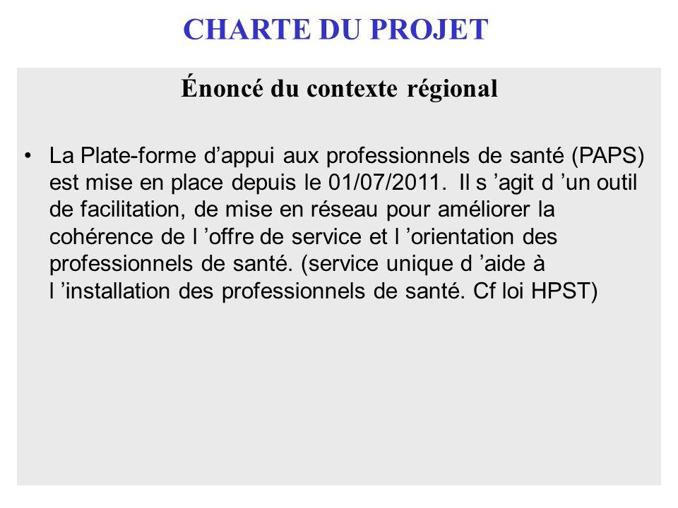 CHARTE DU PROJET Énoncé du contexte régional La Plate-forme dappui aux professionnels de santé (PAPS) est mise en place depuis le 01/07/2011. Il s agi