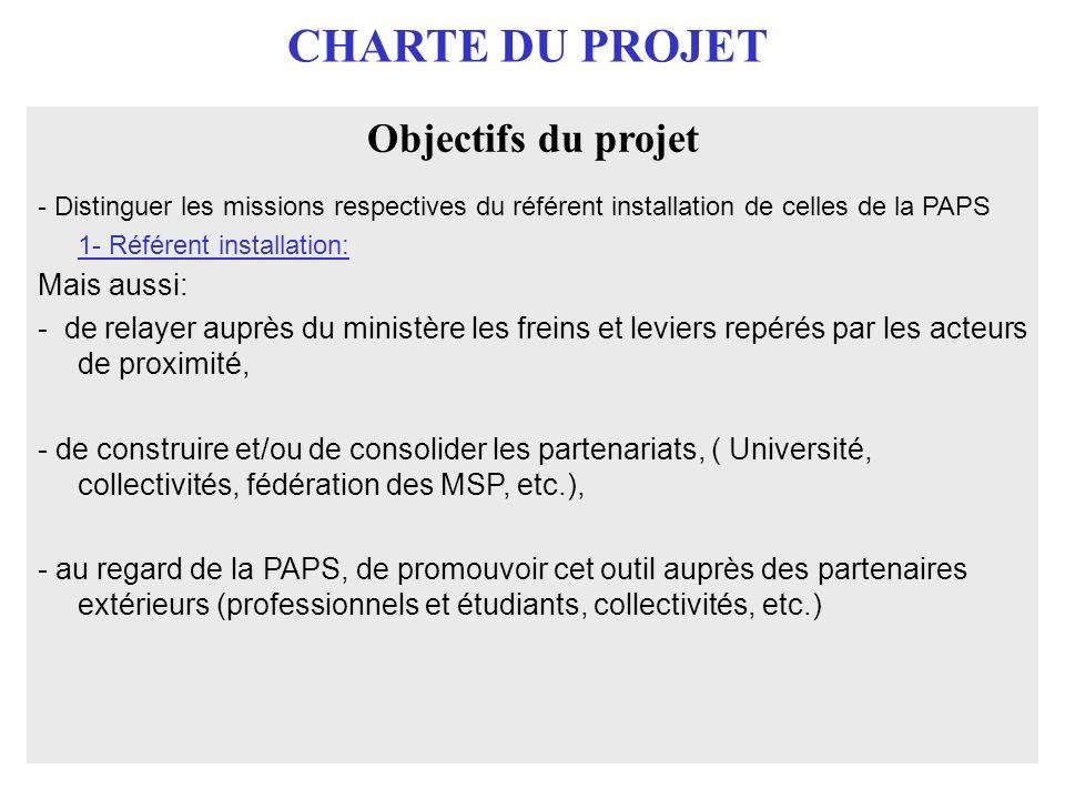 CHARTE DU PROJET Objectifs du projet - Distinguer les missions respectives du référent installation de celles de la PAPS 1- Référent installation: Mai