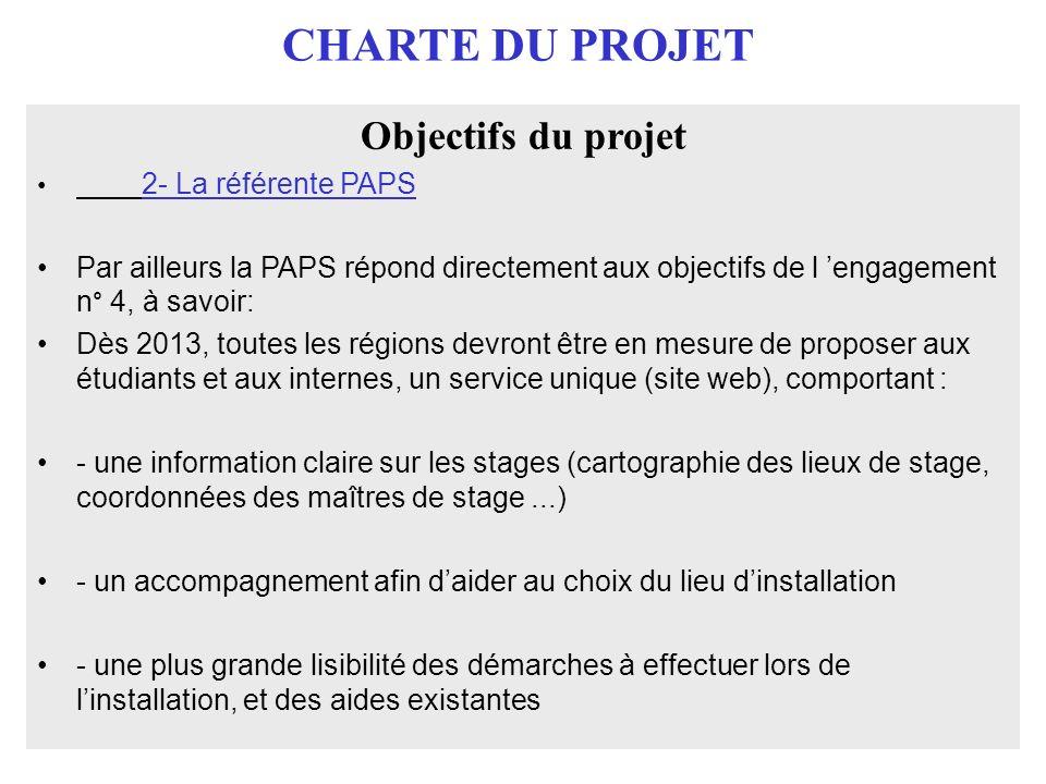 CHARTE DU PROJET Objectifs du projet 2- La référente PAPS Par ailleurs la PAPS répond directement aux objectifs de l engagement n° 4, à savoir: Dès 20