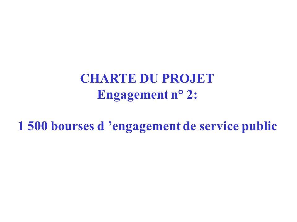 CHARTE DU PROJET Engagement n° 2: 1 500 bourses d engagement de service public
