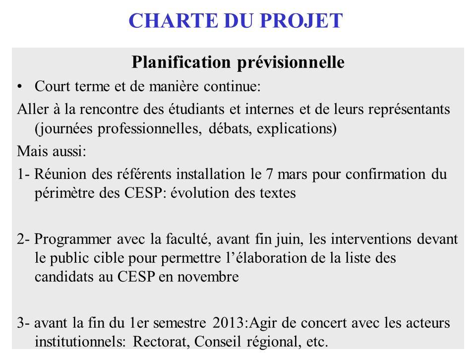 CHARTE DU PROJET Planification prévisionnelle Court terme et de manière continue: Aller à la rencontre des étudiants et internes et de leurs représent