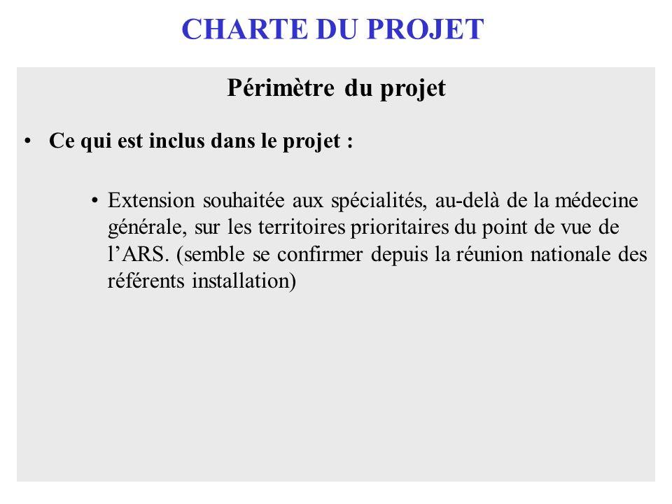 CHARTE DU PROJET Périmètre du projet Ce qui est inclus dans le projet : Extension souhaitée aux spécialités, au-delà de la médecine générale, sur les