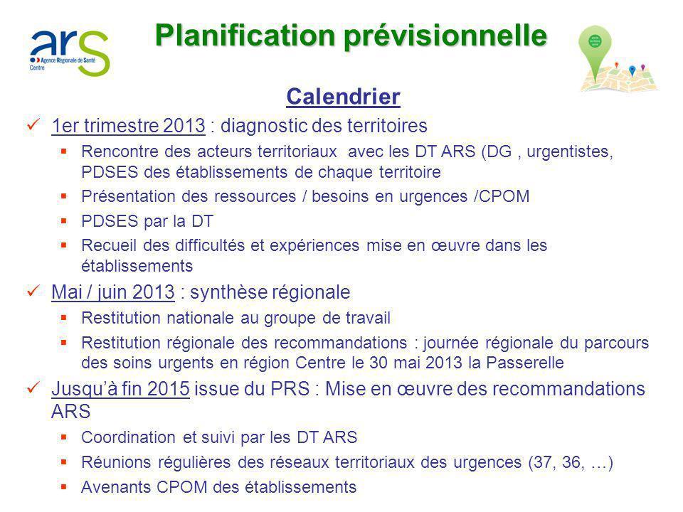 Planification prévisionnelle Calendrier 1er trimestre 2013 : diagnostic des territoires Rencontre des acteurs territoriaux avec les DT ARS (DG, urgent
