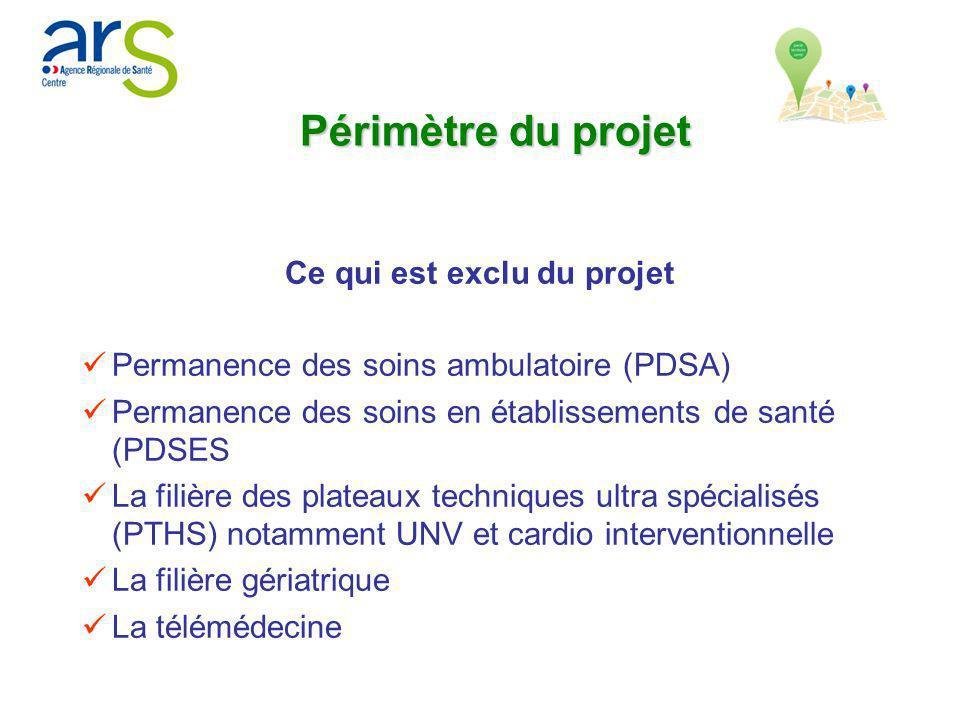Ce qui est exclu du projet Permanence des soins ambulatoire (PDSA) Permanence des soins en établissements de santé (PDSES La filière des plateaux tech
