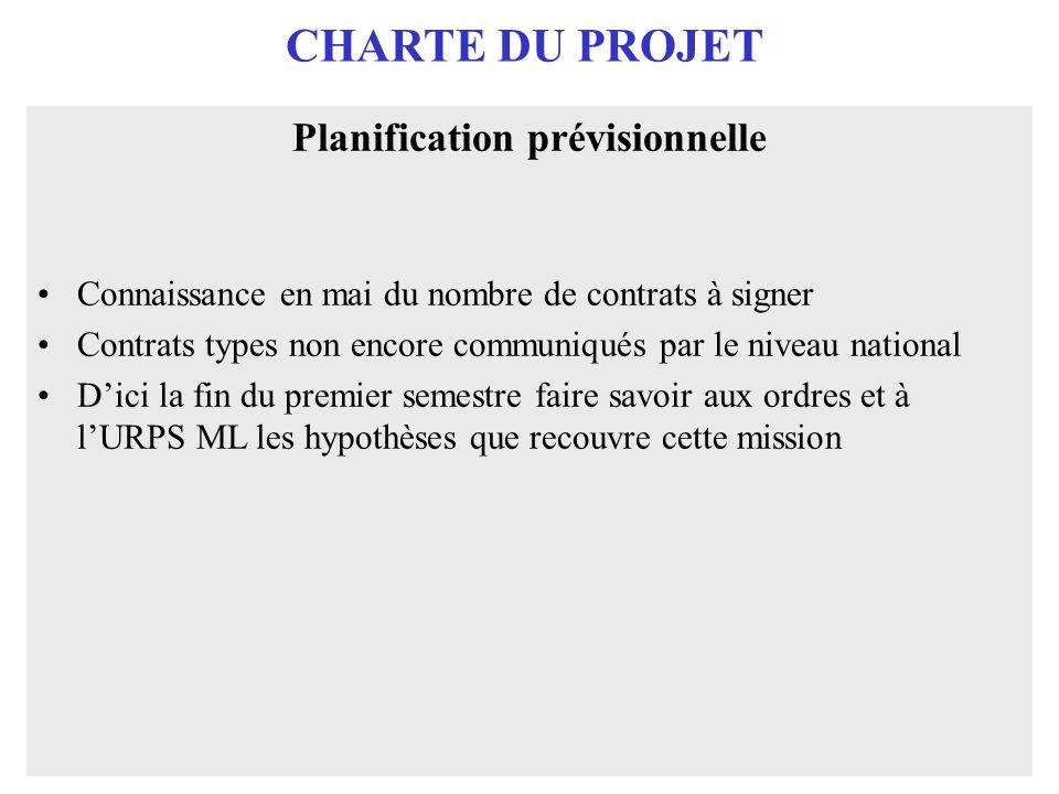 CHARTE DU PROJET Planification prévisionnelle Connaissance en mai du nombre de contrats à signer Contrats types non encore communiqués par le niveau n