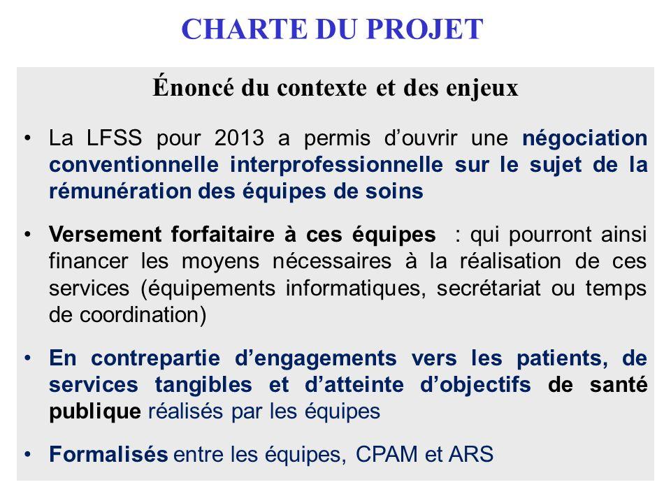 CHARTE DU PROJET Énoncé du contexte et des enjeux La LFSS pour 2013 a permis douvrir une négociation conventionnelle interprofessionnelle sur le sujet