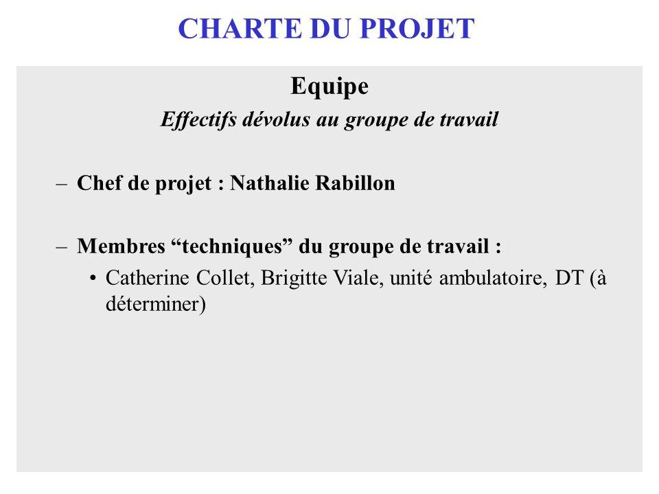 CHARTE DU PROJET Equipe Effectifs dévolus au groupe de travail –Chef de projet : Nathalie Rabillon –Membres techniques du groupe de travail : Catherin