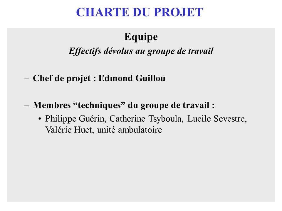 CHARTE DU PROJET Equipe Effectifs dévolus au groupe de travail –Chef de projet : Edmond Guillou –Membres techniques du groupe de travail : Philippe Gu