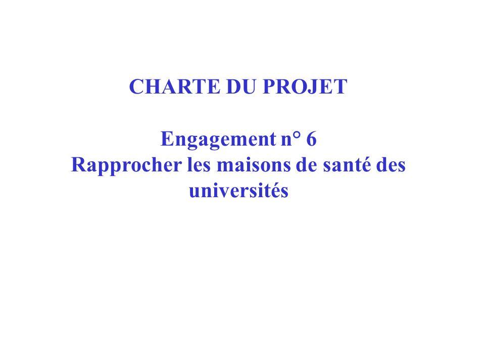 CHARTE DU PROJET Engagement n° 6 Rapprocher les maisons de santé des universités