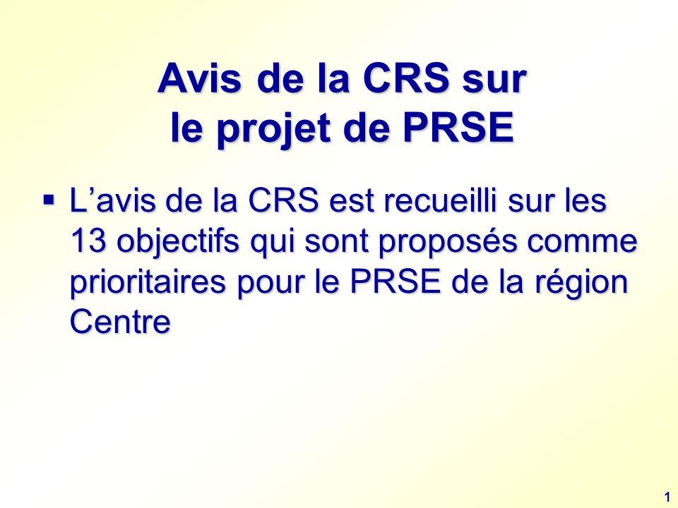 1 Avis de la CRS sur le projet de PRSE Lavis de la CRS est recueilli sur les 13 objectifs qui sont proposés comme prioritaires pour le PRSE de la région Centre Lavis de la CRS est recueilli sur les 13 objectifs qui sont proposés comme prioritaires pour le PRSE de la région Centre