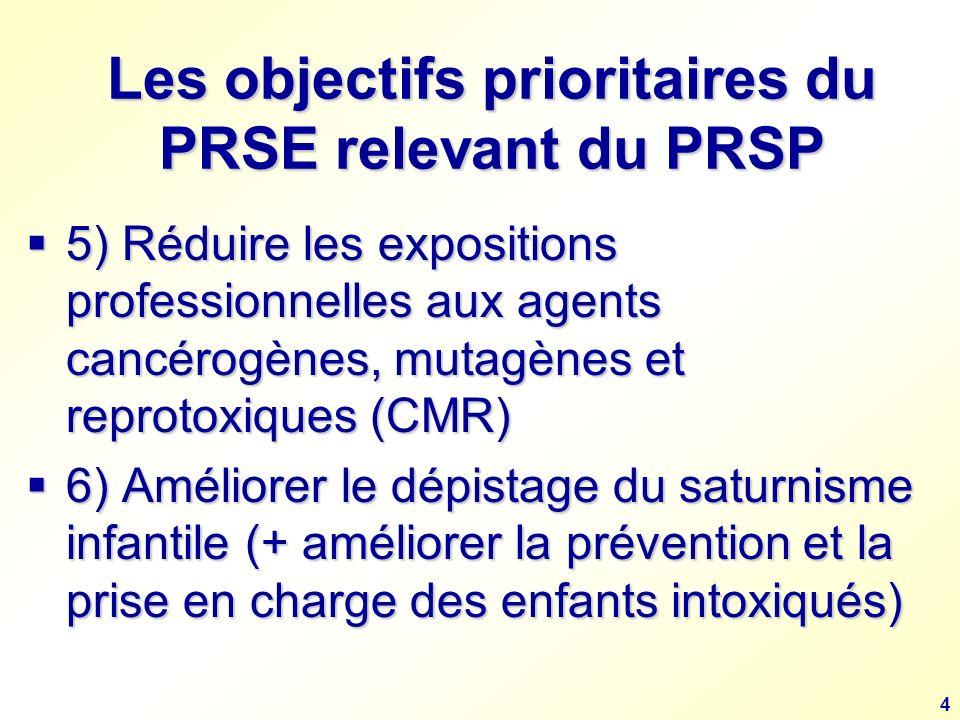 4 Les objectifs prioritaires du PRSE relevant du PRSP 5) Réduire les expositions professionnelles aux agents cancérogènes, mutagènes et reprotoxiques (CMR) 5) Réduire les expositions professionnelles aux agents cancérogènes, mutagènes et reprotoxiques (CMR) 6) Améliorer le dépistage du saturnisme infantile (+ améliorer la prévention et la prise en charge des enfants intoxiqués) 6) Améliorer le dépistage du saturnisme infantile (+ améliorer la prévention et la prise en charge des enfants intoxiqués)