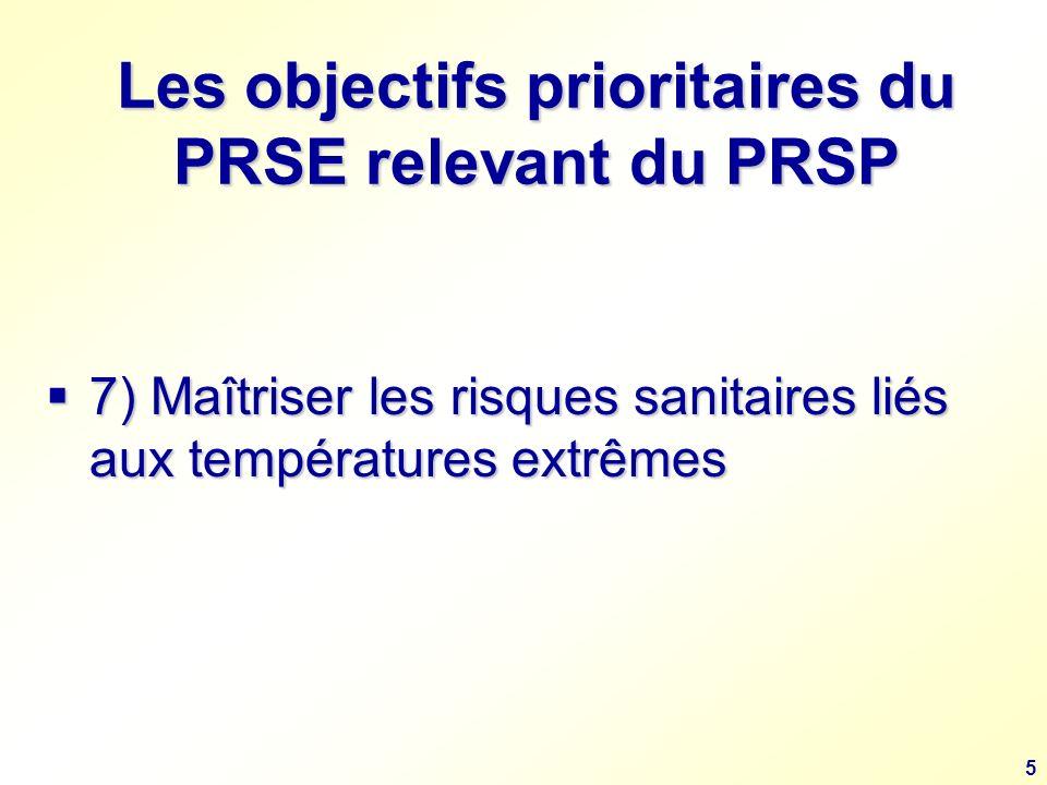 5 Les objectifs prioritaires du PRSE relevant du PRSP 7) Maîtriser les risques sanitaires liés aux températures extrêmes 7) Maîtriser les risques sanitaires liés aux températures extrêmes