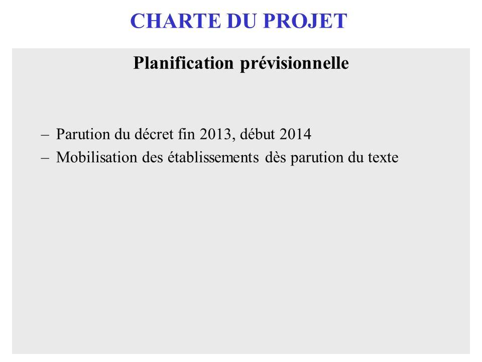 CHARTE DU PROJET Planification prévisionnelle –Parution du décret fin 2013, début 2014 –Mobilisation des établissements dès parution du texte