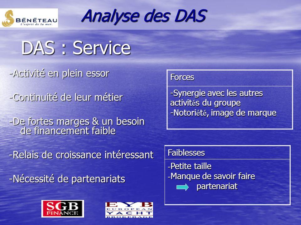 Les métiers complémentaires DAS SERVICE Analyse des DAS