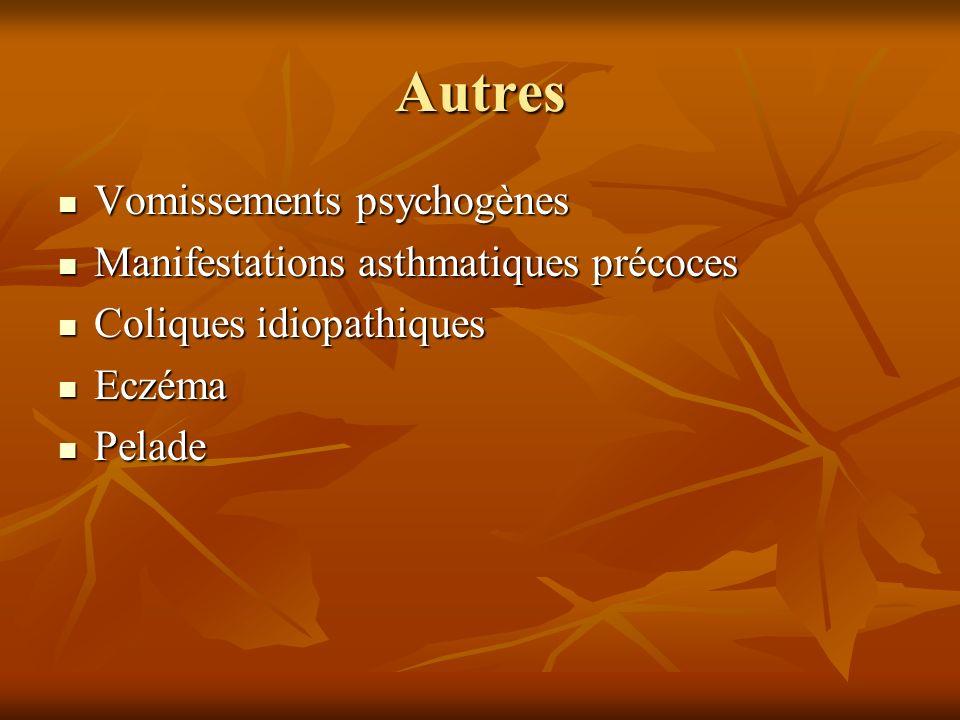 Autres Vomissements psychogènes Vomissements psychogènes Manifestations asthmatiques précoces Manifestations asthmatiques précoces Coliques idiopathiq