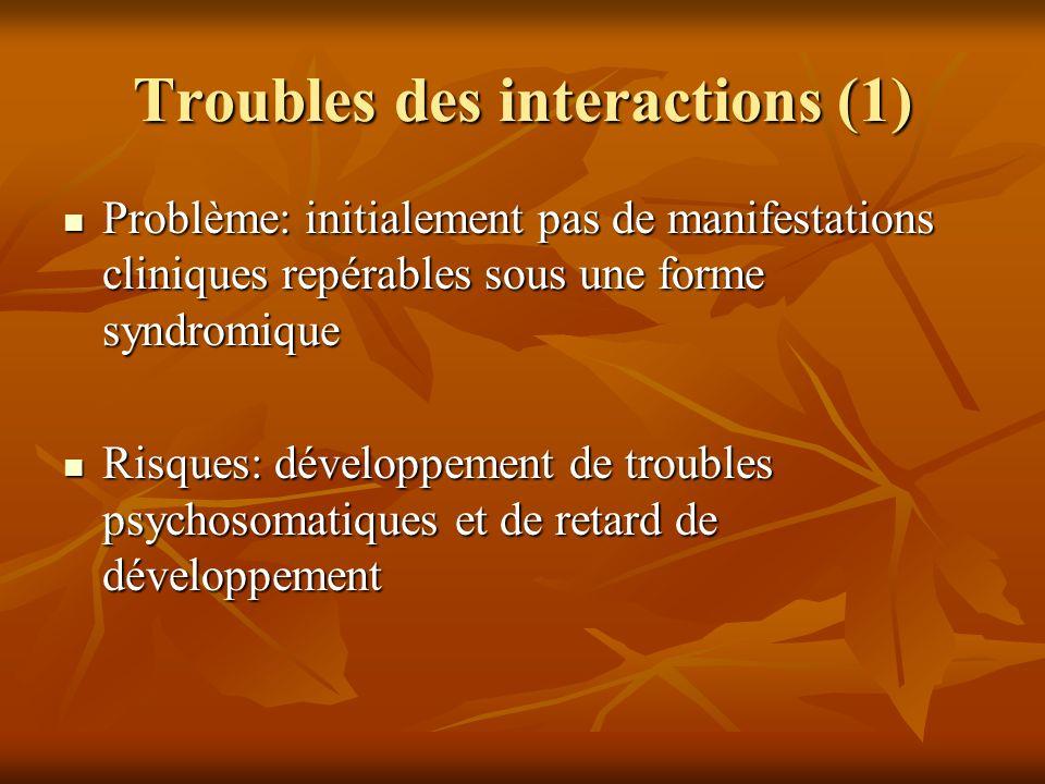 Troubles des interactions (1) Problème: initialement pas de manifestations cliniques repérables sous une forme syndromique Problème: initialement pas