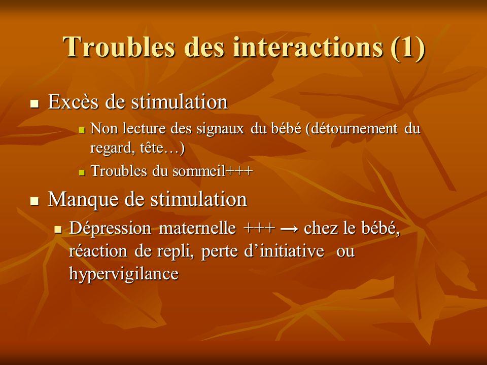 Troubles des interactions (1) Excès de stimulation Excès de stimulation Non lecture des signaux du bébé (détournement du regard, tête…) Non lecture de