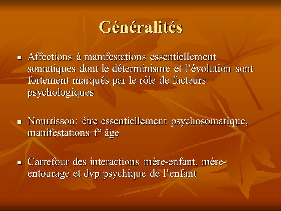 Généralités Affections à manifestations essentiellement somatiques dont le déterminisme et lévolution sont fortement marqués par le rôle de facteurs p