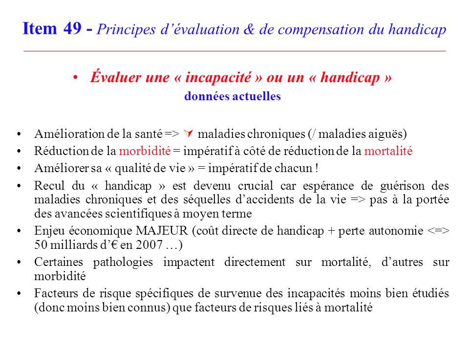 Item 49 - Principes dévaluation & de compensation du handicap Évaluer une « incapacité » ou un « handicap » données actuelles Amélioration de la santé