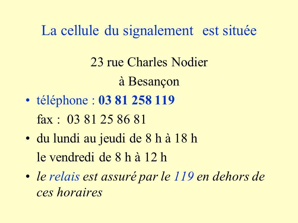 La cellule du signalement est située 23 rue Charles Nodier à Besançon téléphone : 03 81 258 119 fax : 03 81 25 86 81 du lundi au jeudi de 8 h à 18 h l