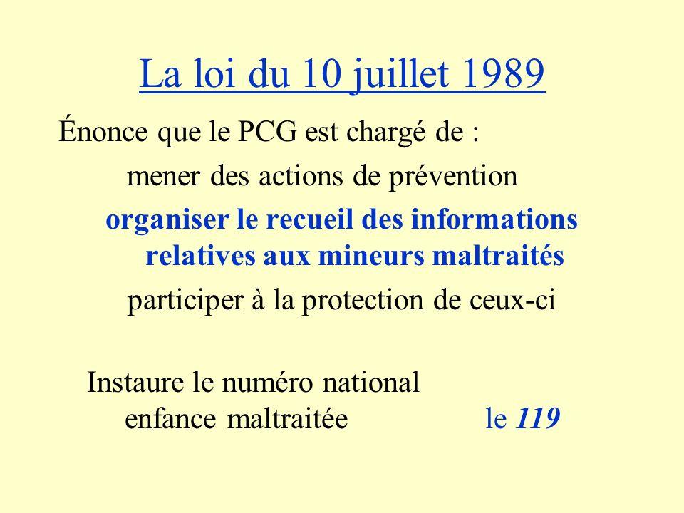 La loi du 10 juillet 1989 Énonce que le PCG est chargé de : mener des actions de prévention organiser le recueil des informations relatives aux mineur