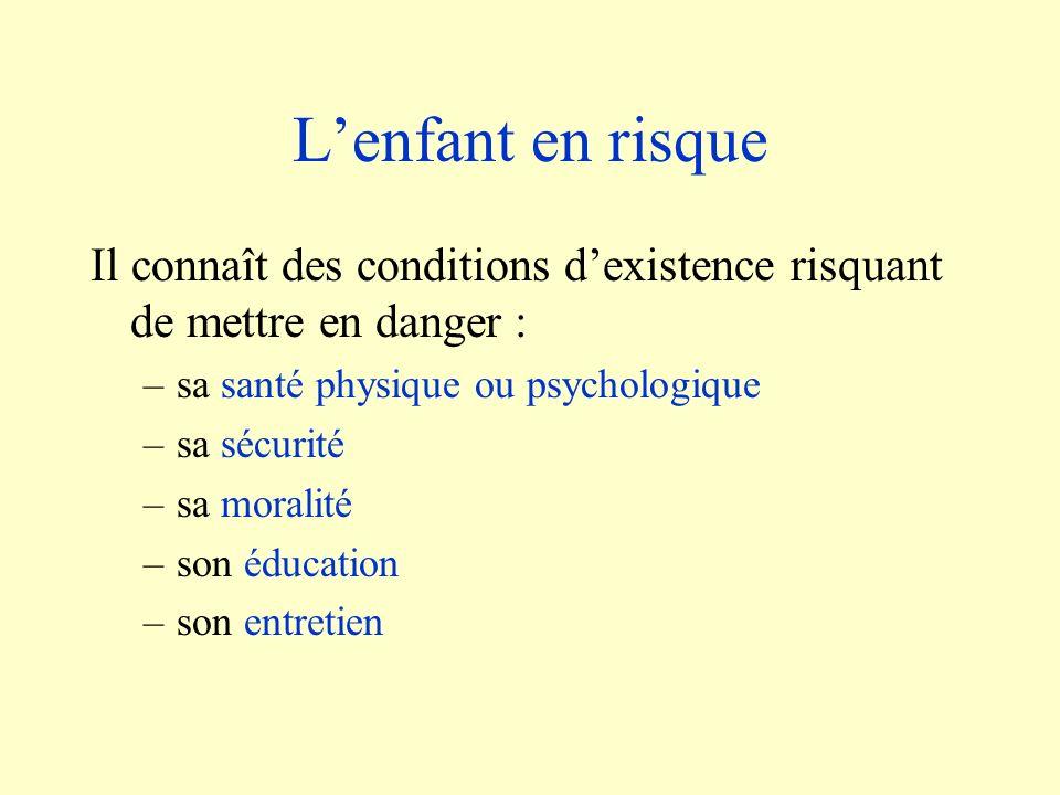 Lenfant en risque Il connaît des conditions dexistence risquant de mettre en danger : –sa santé physique ou psychologique –sa sécurité –sa moralité –s