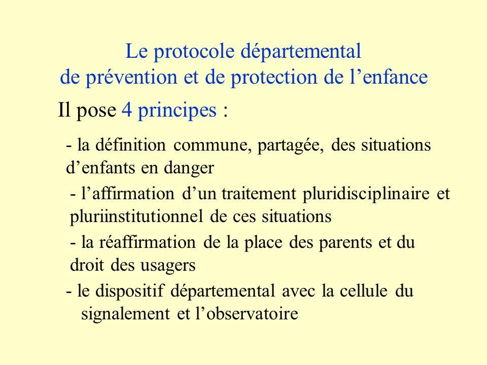 Le protocole départemental de prévention et de protection de lenfance - le dispositif départemental avec la cellule du signalement et lobservatoire Il