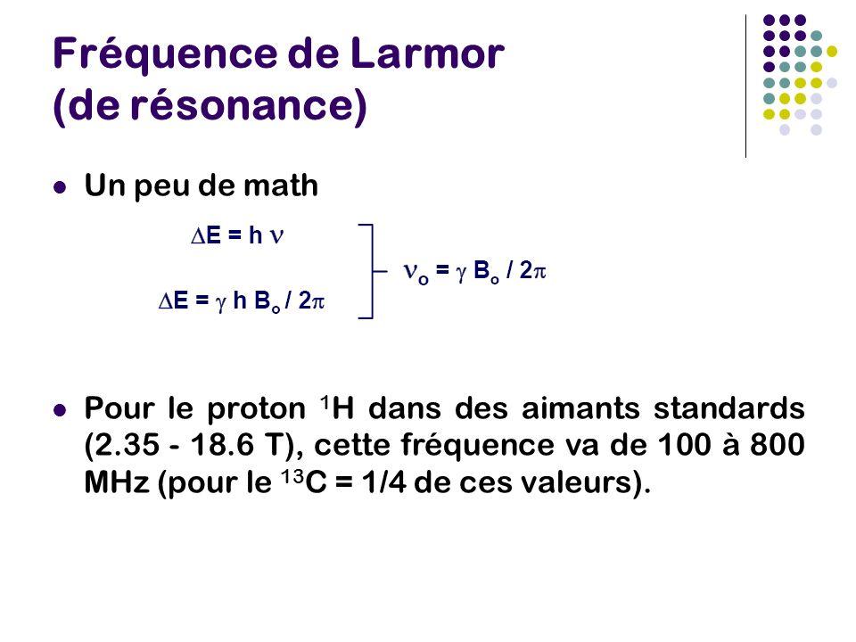Fréquence de Larmor (de résonance) Un peu de math Pour le proton 1 H dans des aimants standards (2.35 - 18.6 T), cette fréquence va de 100 à 800 MHz (pour le 13 C = 1/4 de ces valeurs).