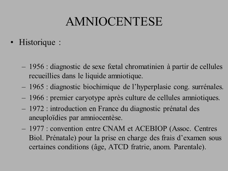 AMNIOCENTESE Historique : –1956 : diagnostic de sexe fœtal chromatinien à partir de cellules recueillies dans le liquide amniotique.