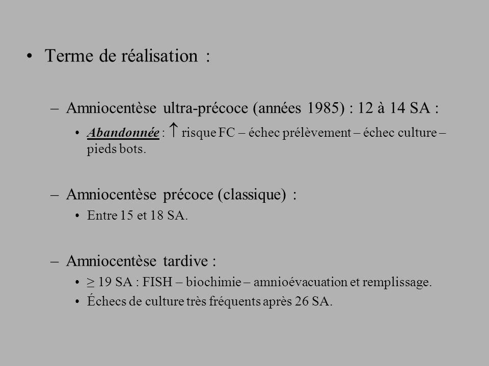 Terme de réalisation : –Amniocentèse ultra-précoce (années 1985) : 12 à 14 SA : Abandonnée : risque FC – échec prélèvement – échec culture – pieds bots.