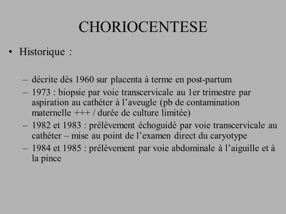CHORIOCENTESE Historique : –décrite dès 1960 sur placenta à terme en post-partum –1973 : biopsie par voie transcervicale au 1er trimestre par aspiration au cathéter à laveugle (pb de contamination maternelle +++ / durée de culture limitée) –1982 et 1983 : prélèvement échoguidé par voie transcervicale au cathéter – mise au point de lexamen direct du caryotype –1984 et 1985 : prélèvement par voie abdominale à laiguille et à la pince