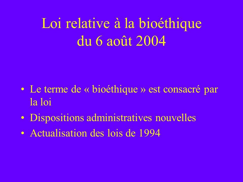 Loi relative à la bioéthique du 6 août 2004 Le terme de « bioéthique » est consacré par la loi Dispositions administratives nouvelles Actualisation de