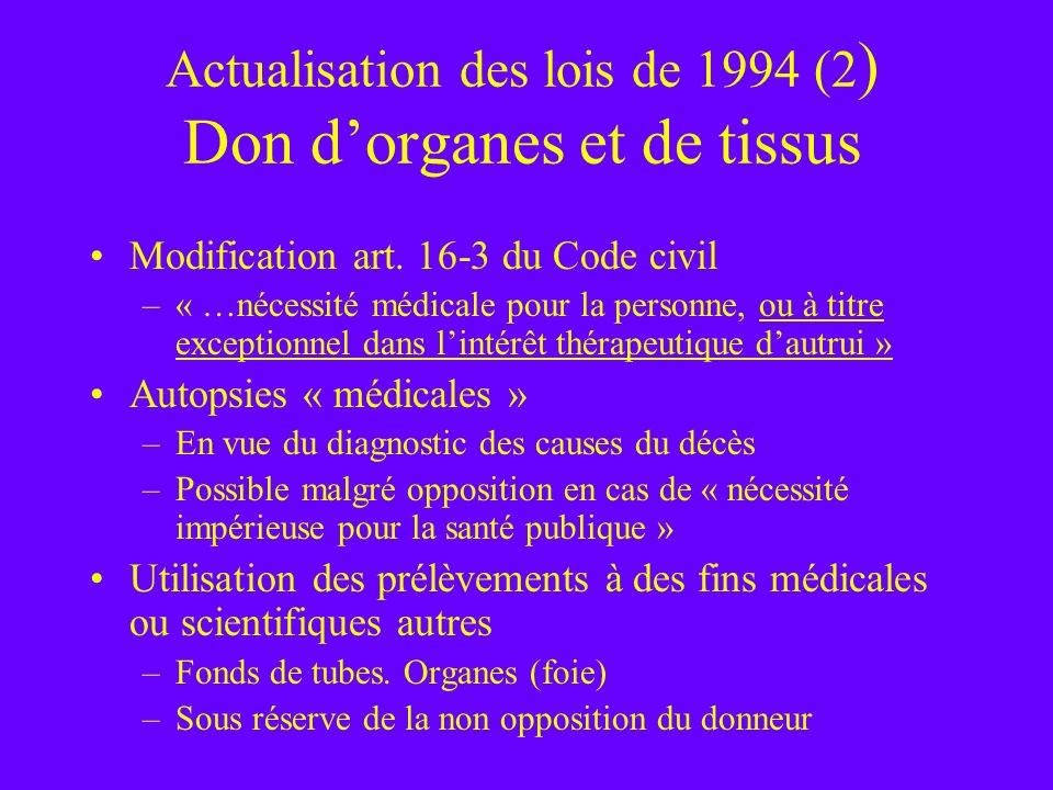 Actualisation des lois de 1994 (2 ) Don dorganes et de tissus Modification art. 16-3 du Code civil –« …nécessité médicale pour la personne, ou à titre