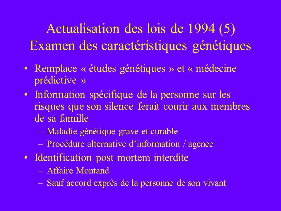 Actualisation des lois de 1994 (5) Examen des caractéristiques génétiques Remplace « études génétiques » et « médecine prédictive » Information spécif