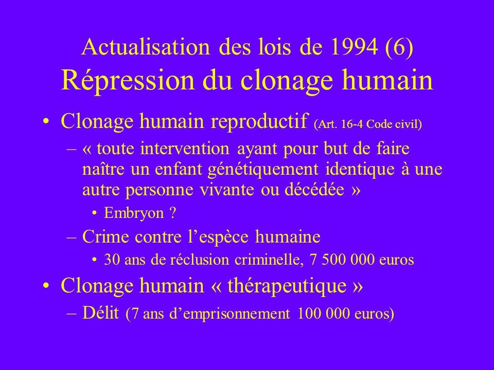 Actualisation des lois de 1994 (6) Répression du clonage humain Clonage humain reproductif (Art. 16-4 Code civil) –« toute intervention ayant pour but