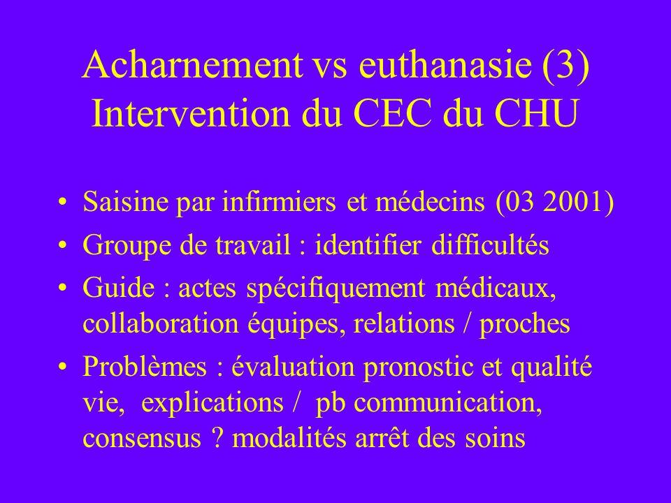 Acharnement vs euthanasie (3) Intervention du CEC du CHU Saisine par infirmiers et médecins (03 2001) Groupe de travail : identifier difficultés Guide