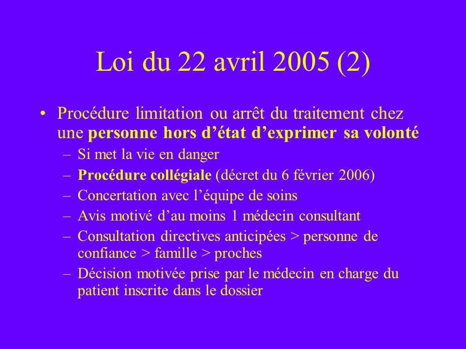 Loi du 22 avril 2005 (2) Procédure limitation ou arrêt du traitement chez une personne hors détat dexprimer sa volonté –Si met la vie en danger –Procé