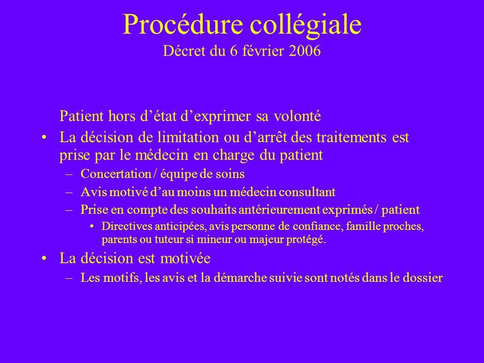 Procédure collégiale Décret du 6 février 2006 Patient hors détat dexprimer sa volonté La décision de limitation ou darrêt des traitements est prise pa