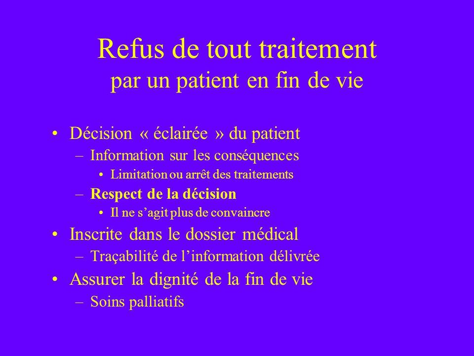 Refus de tout traitement par un patient en fin de vie Décision « éclairée » du patient –Information sur les conséquences Limitation ou arrêt des trait