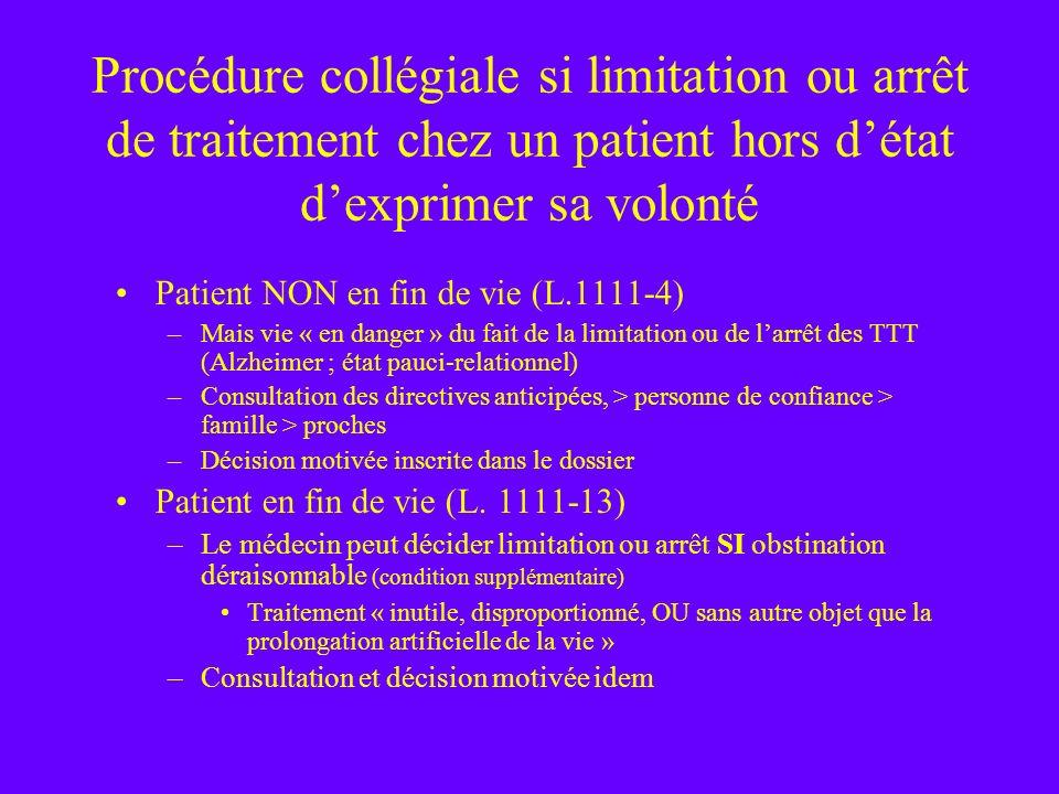 Procédure collégiale si limitation ou arrêt de traitement chez un patient hors détat dexprimer sa volonté Patient NON en fin de vie (L.1111-4) –Mais v