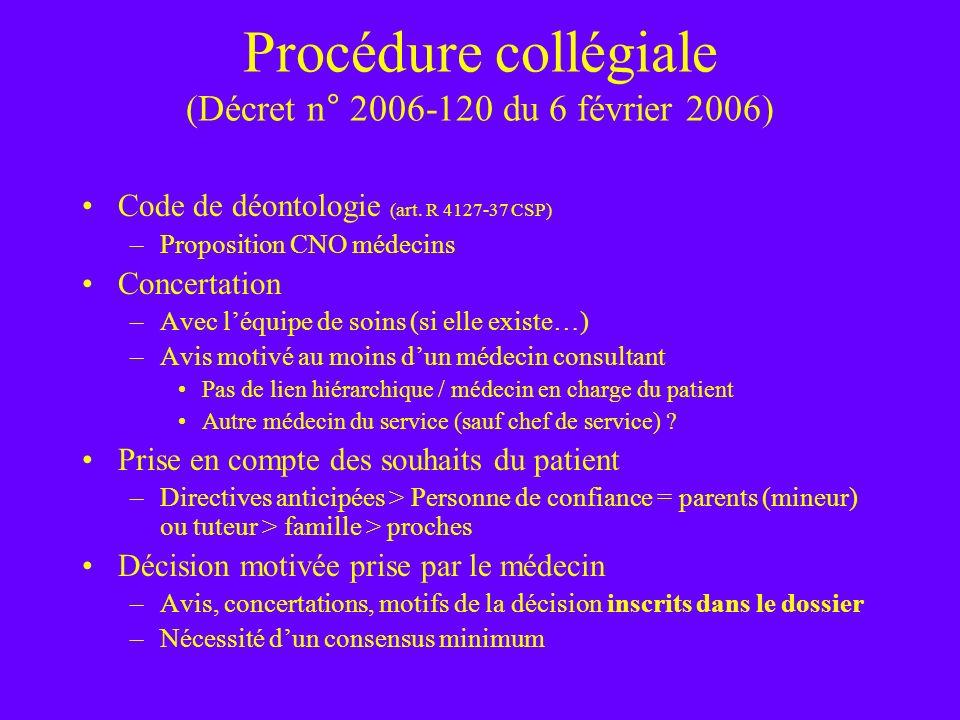 Procédure collégiale (Décret n° 2006-120 du 6 février 2006) Code de déontologie (art. R 4127-37 CSP) –Proposition CNO médecins Concertation –Avec léqu