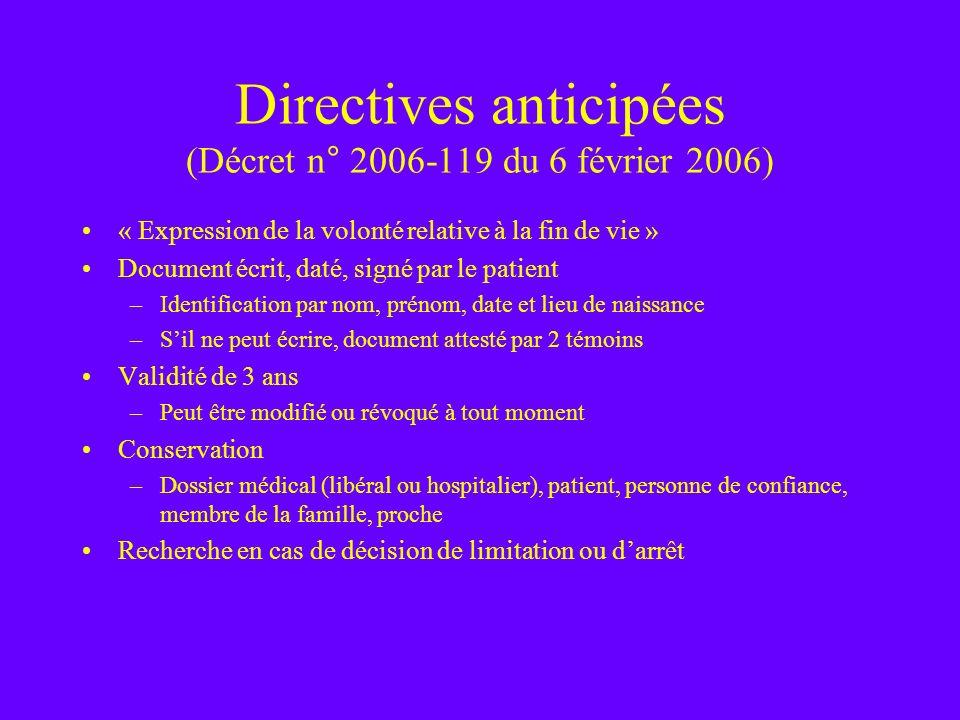 Directives anticipées (Décret n° 2006-119 du 6 février 2006) « Expression de la volonté relative à la fin de vie » Document écrit, daté, signé par le